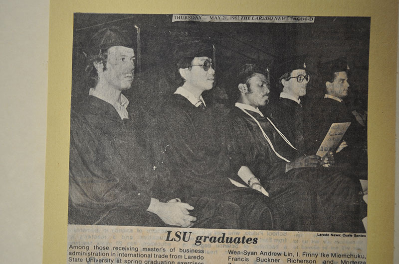 Graduates dressed in their hats and gowns.