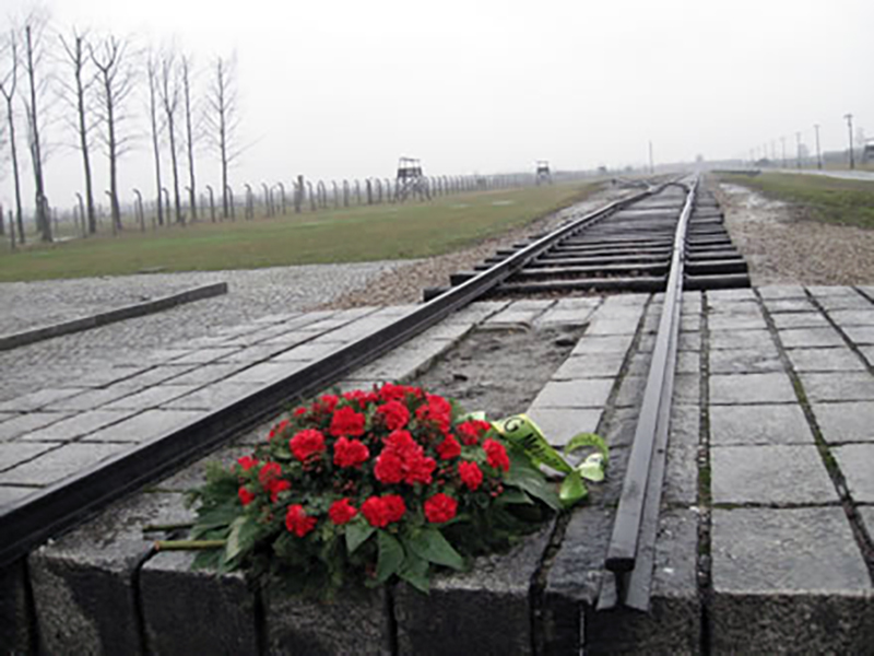 Bouquet of roses on Polska railroad track