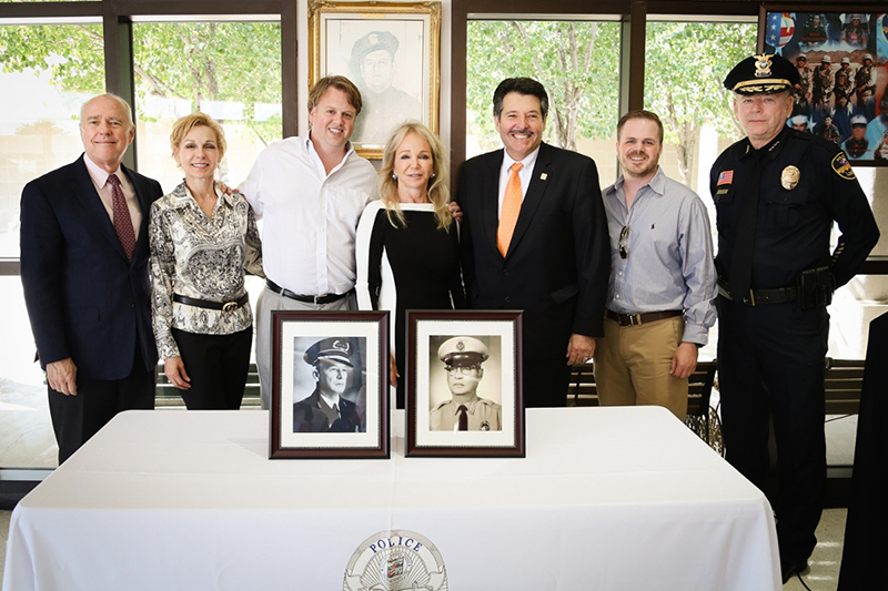 Pictured left to right are Dr. Ray Keck, TAMIU president; Janice Gallagher González, Leyendecker's sister;  Cliffe Killam, Endowment benefactor and son of Leyendecker; Mary Lamar Gallagher Leyendecker, Endowment presenter and daughter and granddaughter of the honorees; Laredo Mayor Pete Saenz; David Killam, Jr.,  Leyendecker's son, and Chief Ray Garner, Laredo Police Department.