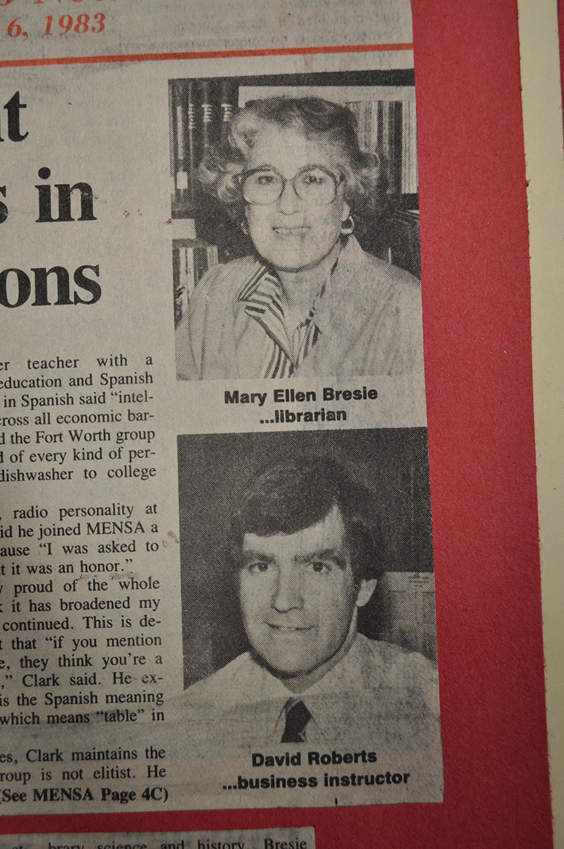 Newspaper clipping featuring Mary Ellen Bresie and David Roberts.