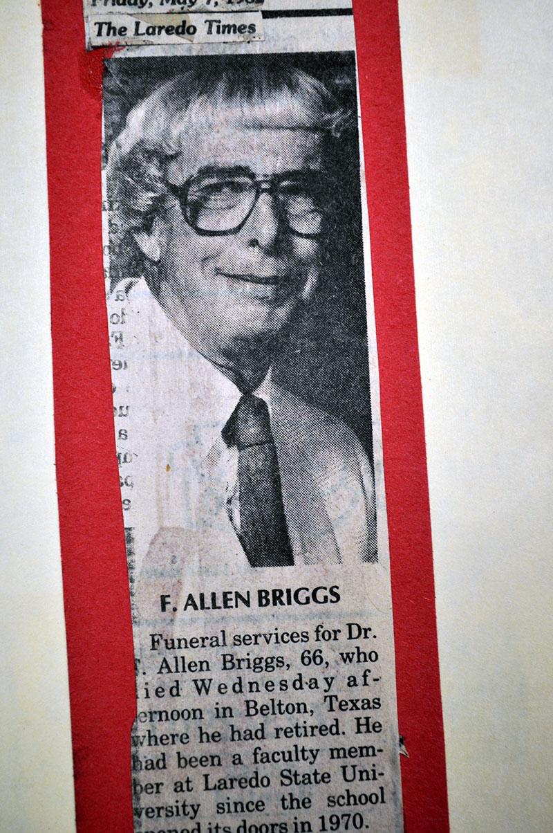 Obituary clipping for Dr. F. Allen Briggs.