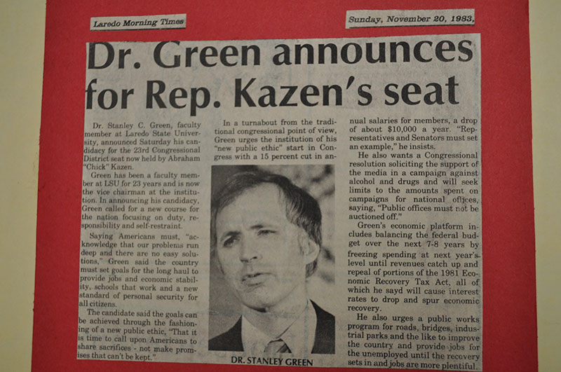 Laredo Morning Time's newspaper clipping titled 'Dr. Green announces for Rep. Kazen's seat. The clipping has a photo of Dr. Green.