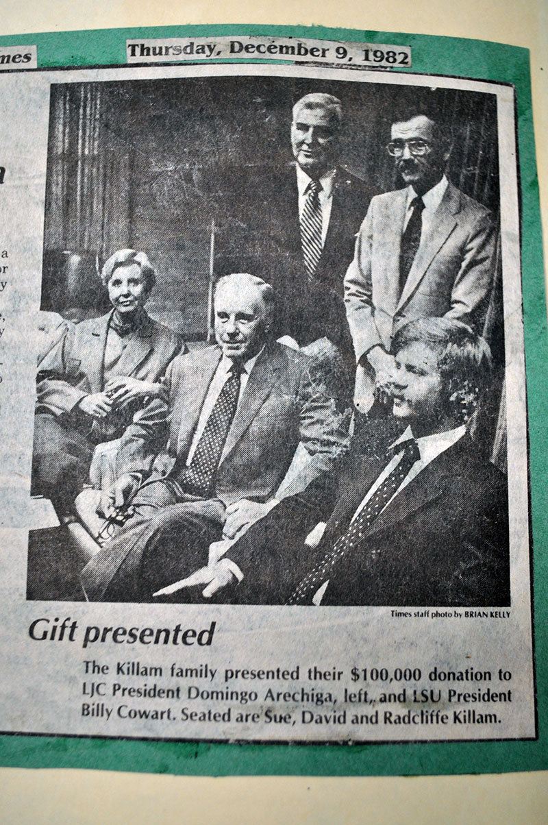 Seated are Sue, David, and Radcliffe Killam. Standing behind them is are respective presidents of LJC and LSU, Domingo Arechiga and Billy Cowart.