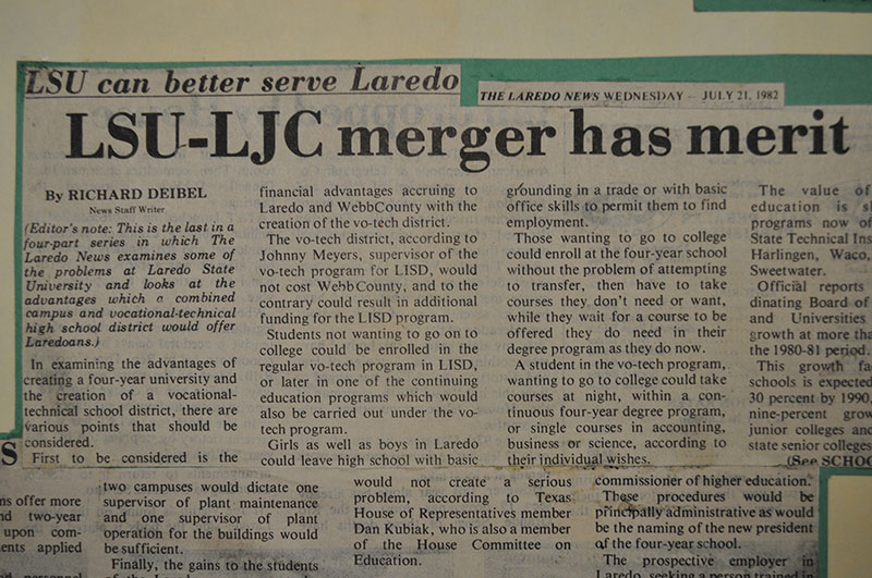 Newspaper clipping from July 21, 1982 headlined 'LSU-LJC merger has merit'.