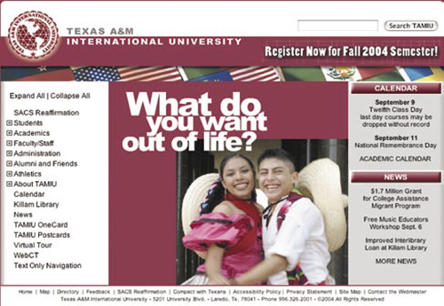 Screenshot of the updated TAMIU homepage for September 2004.