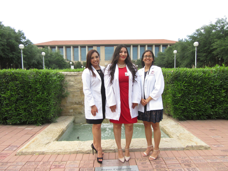 TAMIU College of Nursing and Health Sciences, Dr. F. M. Canseco Famiy Nurse Practitioner graduates are, left to right, Diana Flores, Jeannette Johnson, and Priscilla Rodríguez.