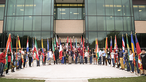 TAMIU International student flag day