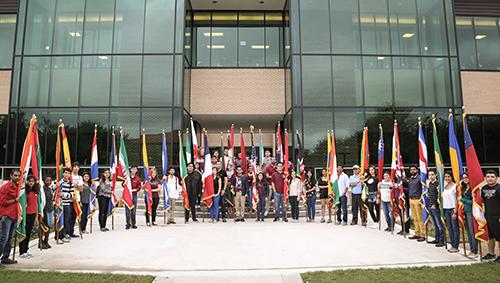 TAMIU International student flag day
