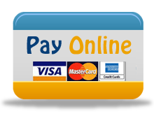 Pay online button includes image of credit cards