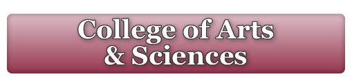 College of Arts and Sciences Logo with University Seal on the left hand side and maroon gradient as a background