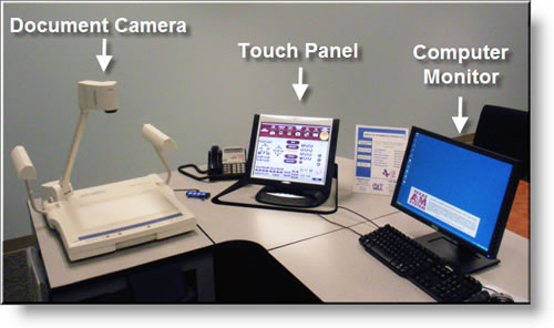 Example of an instructor podium with touch panel, document camera and computer monitor.