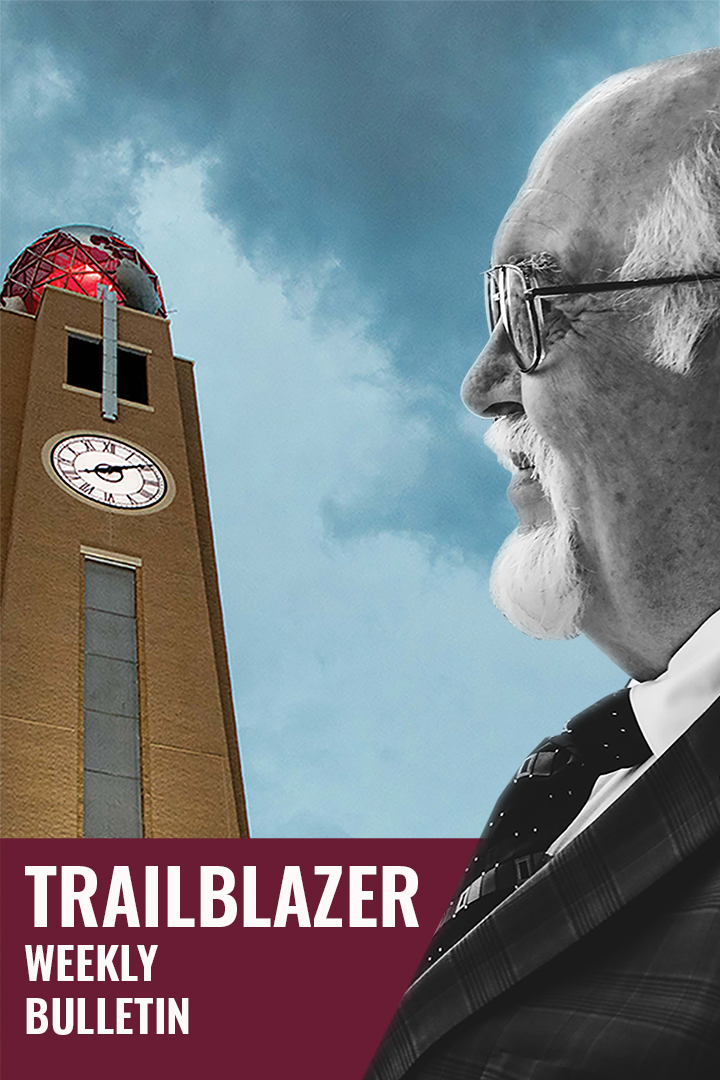 Dustdevil Trailblazer artwork featuring President Dr. Arenaz and the AIC clock tower
