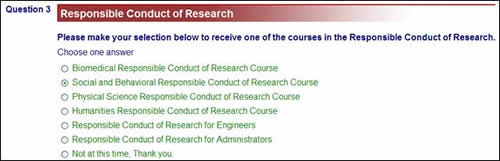 Screen shot of social and behavioral responsible conduct of research course button