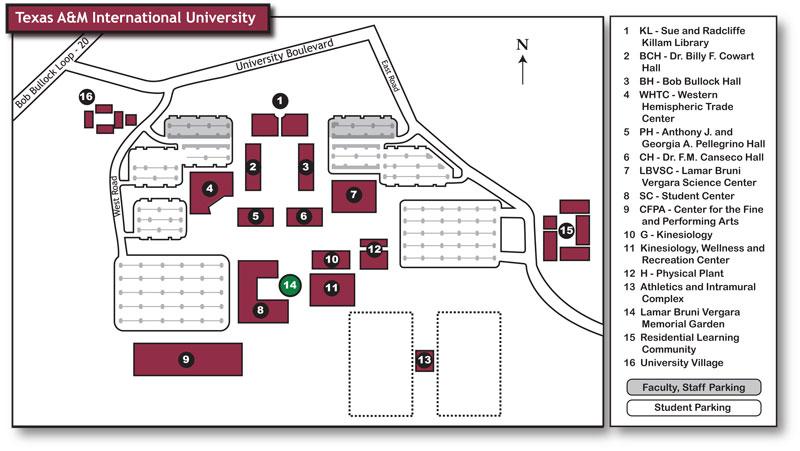 TAMIU Campus Map