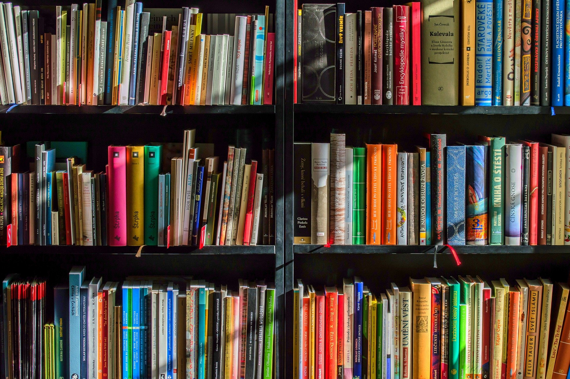 Black bookshelf with lots of colorful books on it.