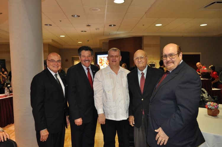 Celebrating the film's April debut at TAMIU are, left to right, Arthur Emerson, KLRN-CEO, Laredo Mayor Pete Saez, Composer Dr. Colin Campbell; Laredo music legend Elmo Lopez and TAMIU president, Dr. Pablo Arenaz.