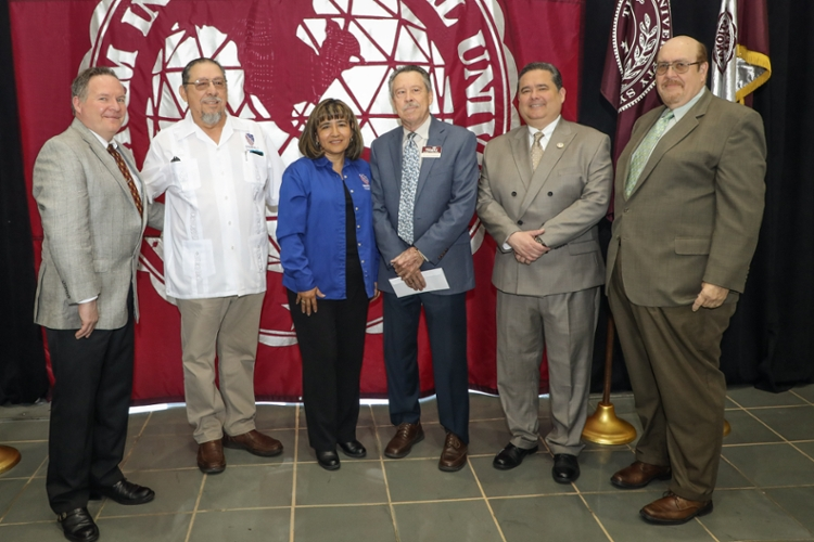 Left to right, College of Education Dean Dr. James O'Meara, Jose Gonzalez, Chapter 7; vice president Paty Valero, LULAC Chapter 7 president;  research project leader and TAMIU professor Dr. Philip Roberson, Roger C. Rocha, LULAC national president, and  Dr. Pablo Arenaz, TAMIU president.  Local bilingual educators are encouraged to share their stories for the project.