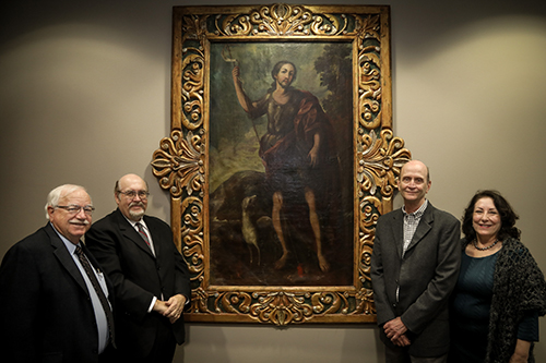 A 17th Century portrait of St. John the Baptist by famed Mexican painter Juan Correa has been gifted to Texas A&M International University by Anthony Leyendecker, Jr. and now hangs in the Sue and Radcliffe Killam Library.  Left to right, Douglas Ferrier, Killam Library director;  Dr. Pablo Arenaz, president; Anthony Leyendecker, Jr., and Rosanne Palacios, vice president for institutional advancement at TAMIU.