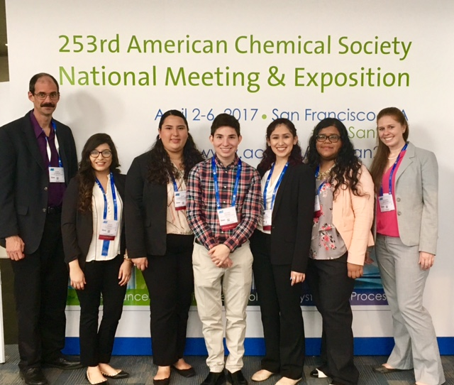 Dr. Keith Combrink and Dr. Kameron Jorgenson with the five undergraduate students at 253rd American Chemical Society National Meeting & Exposition