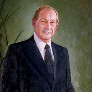 Vibrant portrait painting of Dr. Canseco.