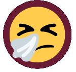sneezing emoji with tissue icon